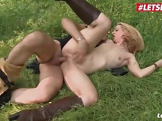 Letsdoeit - Hot Blonde French Milf Ass Fucked In The Forest
