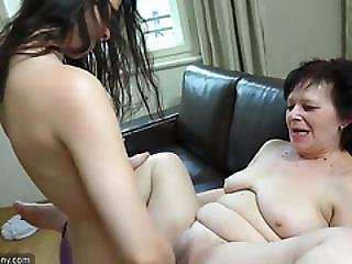 Oldnanny Granny And Sexy Teen Playing With Strapon, Granny Masturbate With Toy