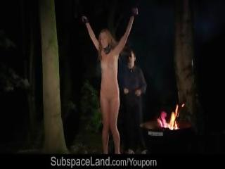 Big Tits Slut Squirting In Bondage Punishment Fucked In The Forest