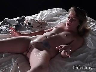 Blonde Masturbates And Has Epic Squirt Orgasm On The Bed
