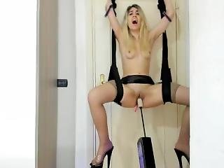 Lady_anal Fuck-machine Door Swing And Big Dildo In Ass