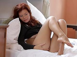 Amazing Redhead Babe Showing Pussy