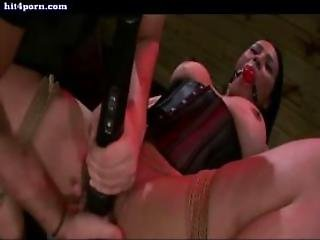 Chained Babe Gets Toyed Until Cums