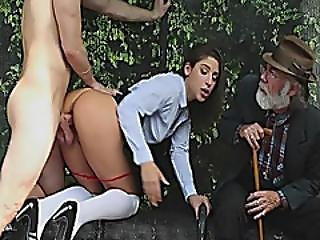 Pretty Teen In Uniform Gets Fucked By Big Dick In Bus Stop