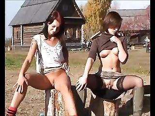 Russian Sluts Flash In The Village