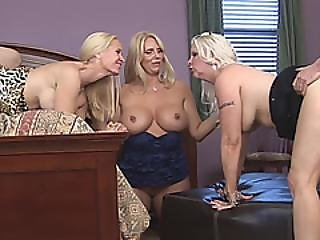 Platinum Blond Trio Of Cougars Have Hardcore Group Sex With Two Guys