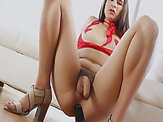Nasty Brunette Tgirl Fucked Her Juicy Ass With A Sextoy