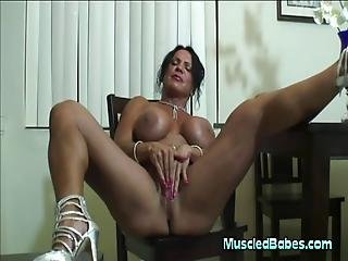 Muscled Milf Masturbates With Dildo
