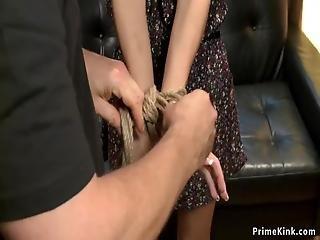 anal, bdsm, smuk, blond, bondage, finger, kneppe, hogtied, bundet