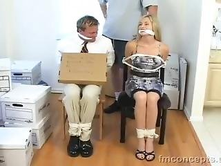 Blonde Couple Is Taken For Ransom, Chair Tied, & Cleave Gagged