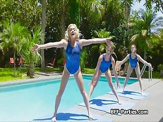Kinky Gymnast Teens Kenzie, Katie And Leah Need To Relax They Have Been Training Hard And Its Time To Let Off Steam For Now With A Hot Foursome!