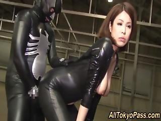 Asian, Bondage, Bound, Costume, Cream, Creampie, Fetish, Fingering, Hardcore, Japanese, Jizz, Latex, Mask, Threesome, Vibrator