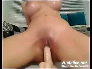 Big Boobed Female Gets Oiled And Masturbates