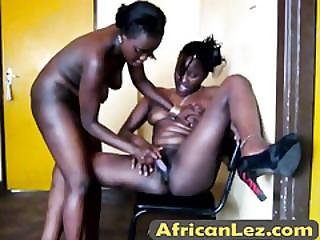 Well-shaped Lesbian From Africa Bends Over And Gets Pussy Toyed