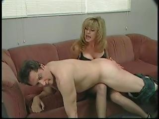 Sexy British Blond Teacher Spanking Dumb Male Studend