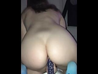 Teen Riding Big Dildo From Behind To Orgasm