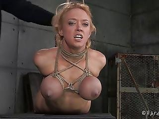 Large Bra Buddies Golden-haired In Rope Thraldom