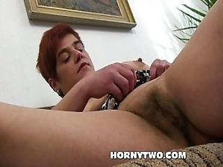Hairy Chubby Redhead Milf Fucking Pussy Wth Huge Dildo Rubbing Her Fat Tummy