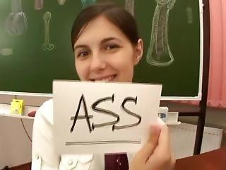 anal, brunette, Université, Ados, Ados Anal, jouets