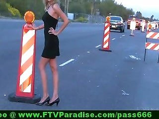 Inventive Blonde Public Flashing Tits On Road
