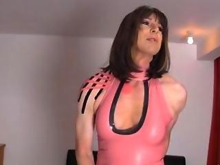 Crossdresser Slut Wanks Her Big Cock As Hot Femdom Strapon Jane Fucks Her Tight Ass
