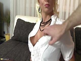 Busty Blonde Milf Gets Fucked In Fishnet Stockings