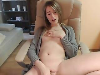 chick, blonde, masturbatie, kreunen, webcam