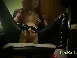Tribute - Horny Redhead In Latex Masturbating - Laura Fatalle