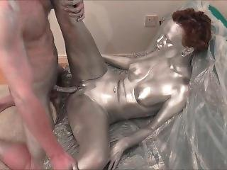 Silver Body Paint Sex Trailer