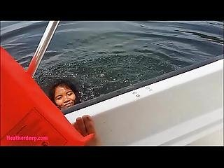 Tiny Thai Teens Heather Deep Deepthroats Monster Cumshot On Boat