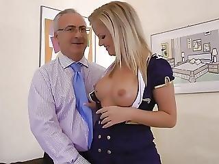Old Man Meets A Cute Stewardess