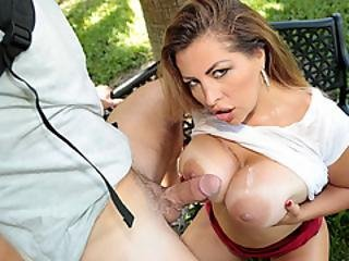 Robby Erupts His Cum All Over Alessandras Cutie Tits