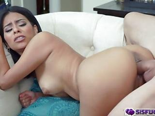 Bambino Feeding Monica Asis His Huge Cock As She Goes Down On Her Knees