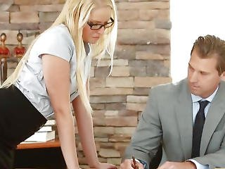 Blonde Secretary Vanessa Cage Gives Her Boss A Blowjob