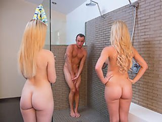 Guy Get Surprised In Shower By Lucy Tyler And Cherie Deville