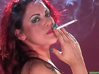 Red Head Smoking 120s, Heavy Makeup Skank In Latex Dress She Is