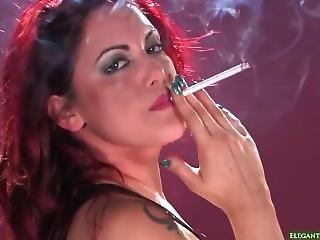 Red Head Smoking 120s, Heavy Makeup Skank In Latex Dress She Is