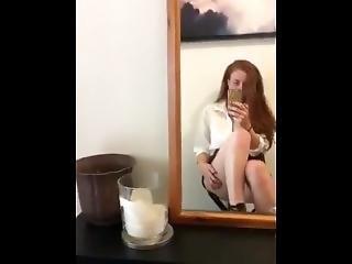 Upskirt Tease In Heels And Secretary Shirt - Aussie Redhead Loula