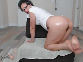 Rose Fucks Her Hairy Pussy With Dildos To Squirt And Pours Oil On Big Ass