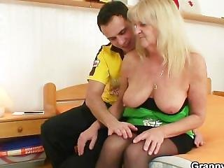 Blonde Grandma In Black Stockings Fucks