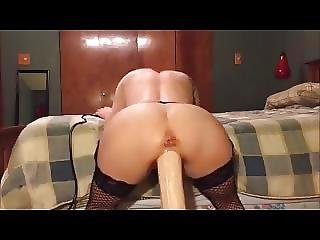 Big Dildo Machine Fucks Her Tight Pussy