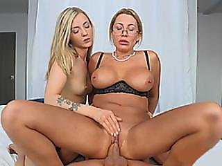 Big Tits Milf And Nasty Teen Horny 3some Sex On The Bed