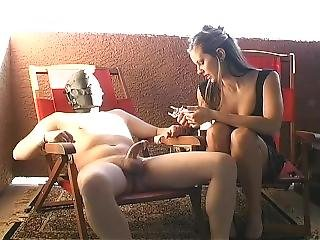 Amazing Handjob For Her Cuckold Slave After A Night Out.