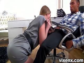Sexy Blonde Secretary Milana Fox Pleasing Her Boss