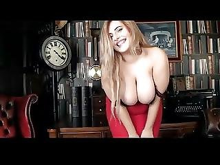 Busty Blonde Stripping In Her Office