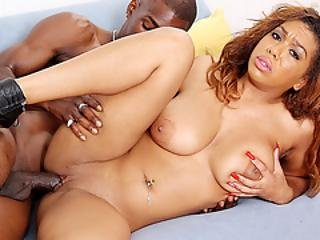 Busty Ebony Tart Katt Garcia Oils Up Her Tits Before Fucking A Huge Cock