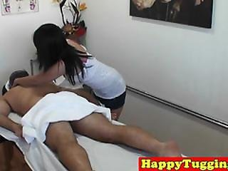Asian Masseuse Jerking And Riding On Client