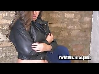 Hot Blonde Puts On Tight Pants And Busty Naked Brunette Dresses In Leather