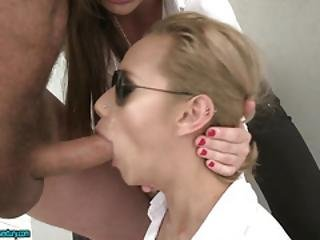 Two Horny Lady Agents Suck Cock And Get Assfucked