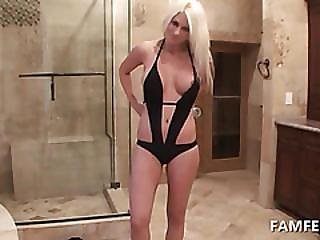 Stripping Blonde Teasing Big Boobs In Bathtub